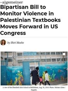 Algemeiner screenof Bipartisan Bill to Monitor Violence in Palestinian Textbooks-US Congress