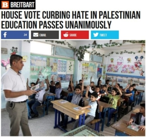 Breitbart-House Vote Curbing Hate in Palestian Education Passes Unanimously-Palestinian schoolchildren raising hands in classreaisings
