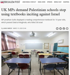 JP-UK MPs demand PA schools stop using textbooks to incite against Israel