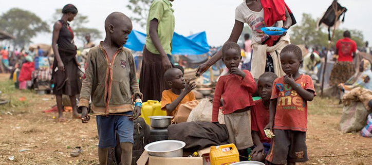 Picture of refugees, esp. children in Uganda