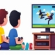 Drawing of 2 children playing video game together