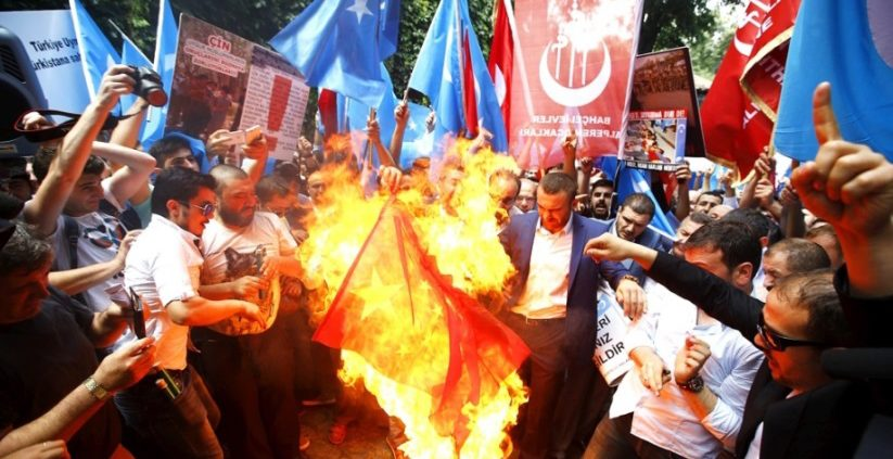 Turkish Protesters Burn Chinese Flag