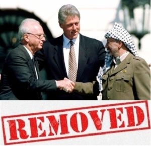 Picture of Rabin, Clinton and Arafat: Removed