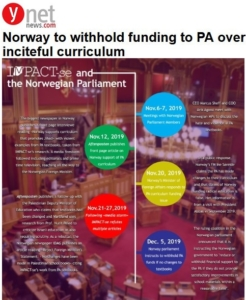 YNET- Graphic of IMPACT-se and Norwegian Parliament--Norway to Withhold PA Funding